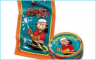 Ein magisches Handtuch mit Feuerwehrmann Sam drauf