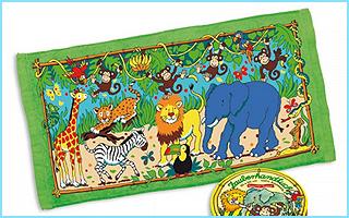 Ein Zauberhandtuch mit wilden Tieren aus dem Zoo